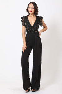 Deep V-neck Crotchet Detail Jumpsuit