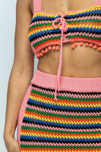Load image into Gallery viewer, Multi Color Crochet Open Back Top/mini Pencil Skirt 2 Piece Set