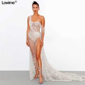 High Fashion Illusion Sexy Celebrity Dress 2019 With Full Beading Crystal Luxury Prom Dresses High Split Red Carpet Gowns