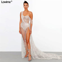 Load image into Gallery viewer, High Fashion Illusion Sexy Celebrity Dress 2019 With Full Beading Crystal Luxury Prom Dresses High Split Red Carpet Gowns