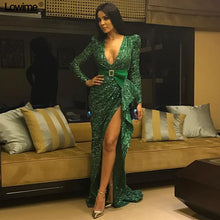 Load image into Gallery viewer, High Fashion Green Bling Celebrity Dresses 2019 Mermaid Deep V-Neck Sexy Formal Long Sleeves Evening Gowns With Sash Custom