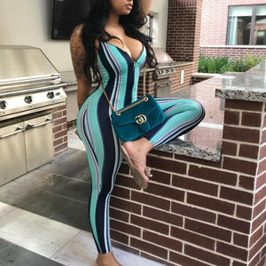 Sexy Women Sleeveless Striped Jumpsuit Romper Casual Party Clubwear Outfits Ladies Striped Jumpsuits Female Clothing