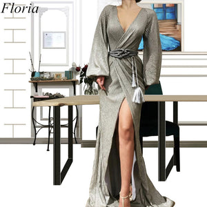 New Fashion Sexy Long Celebrity Dresses 2019 Long Sleeves V-Neck Side Split Evening Red Carpet Runaway Gowns Robe De Soiree