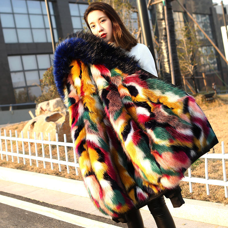 Faux Mink Fur Collar Hooded Jacket Long Parker Coat Underwear Rainbow Color Faux Fox Fur Trench Coat Cardigan Tops Furry Jacket