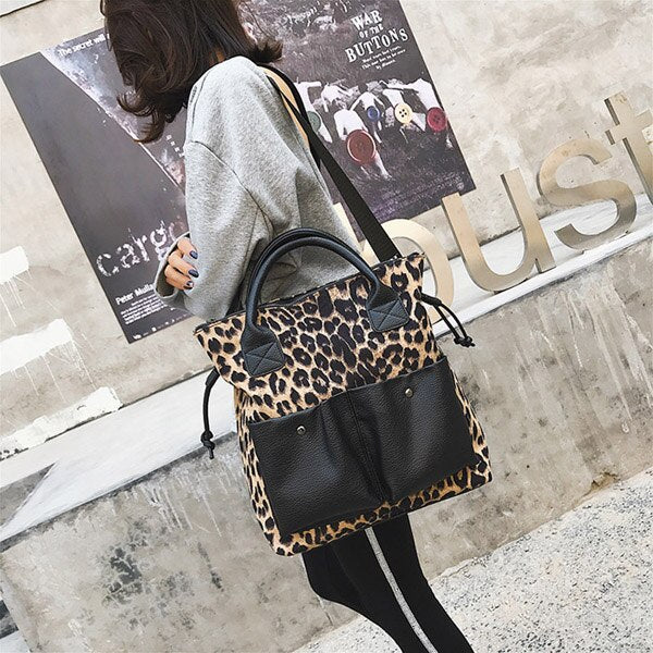 Annmouler Large Capacity Women Handbag Purse Leopard Patchwork Shoulder Bag High Quality Tote Bag Fashion Crossbody Bag
