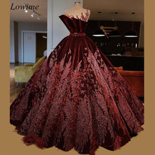 Load image into Gallery viewer, Luxury Dark Burgundy Celebrity Dresses 2019 Sheer Neck Velvet Arabic Evening Red Carpet Prom Party Gowns With Sash Feathers