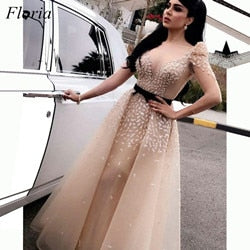 Plus Size Dubai Long Celebrity Dresses 3/4 Long Sleeves See Through Tulle Red Carpet Runaway Gowns With beads Vestidos De Festa
