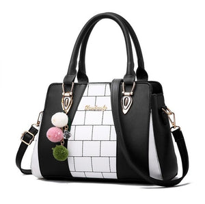 Fasion Women Brand New Design Handbag Black And White Stripe Tote Bag Female Shoulder Bags High Quality PU Leather Purse  L8-46