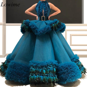 2019 New Luxury Celebrity Dresses A-Line With Feathers Sleeveless Sexy Women Dubai Red Carpet Gowns With Sash Tiered Train