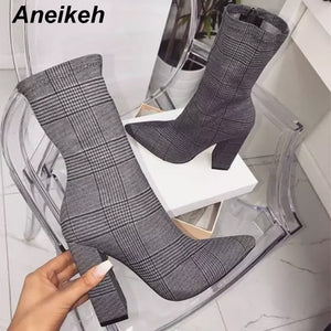 Aneikeh Gray Sexy Ankle Boots For Women Shoes Pointed Toe Thin High Heels Bootas Mujer Femme Zipper Chelsea Boots Size 35-42