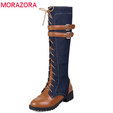 Load image into Gallery viewer, MORAZORA 2020 new arrival knee high boots women top quality denim low heels boots round toe zip autumn winter boots casual shoes