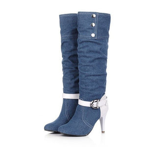 ASUMER Plus Size Pointed Toe Women Spring Autumn High Heels Denim Knee High Boots Lady 2020  New Fashion Jean Long Boots