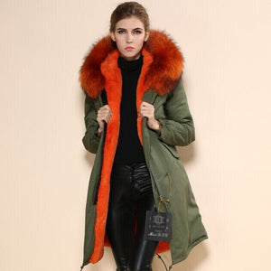 New Arrival Popular in Korea the same style Long Item Brand Mr  and Real Picture Show Green Fur Coat