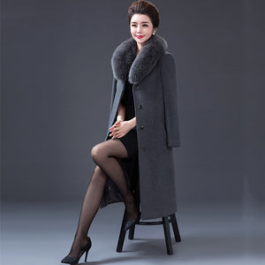 2019 winter Brand Trench Coat Women Long jackets Femme fake fur collar Windbreaker Wool Coats Plus Size 4XL High-quality