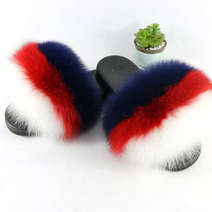 Real Fox Fur Slippers Women Fur Home Fluffy Sliders Plush Furry Summer Flats