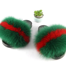 Load image into Gallery viewer, Real Fox Fur Slippers Women Fur Home Fluffy Sliders Plush Furry Summer Flats