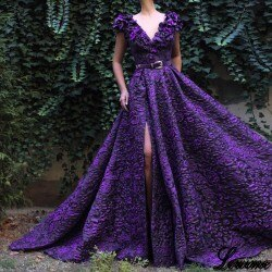Gorgeous Sexy Long Celebrity Dresses 2019 V-Neck Side Split Vimtage Red Carpet Runaway Dress With Sashes Long Prom Party Gowns