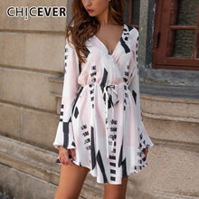 Load image into Gallery viewer, CHICEVER Spring Print Female Dresses For Women V Neck Flare Sleeve High Waist Drawstring Mini Dress Korean Fashion Clothes