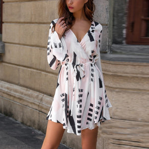 CHICEVER Spring Print Female Dresses For Women V Neck Flare Sleeve High Waist Drawstring Mini Dress Korean Fashion Clothes