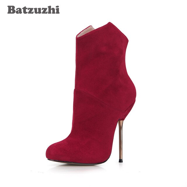 Batzuzhi -2018 Pointed Toe 12.4CM Sexy Iron High Heels Ankle Boots Women Stiletto Bride Party Shoes Wine Red Leather US 5.5-10.5