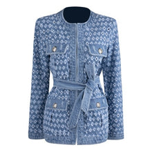 Load image into Gallery viewer, TWOTWINSTYLE Streetwear Hollow Out Denim Women's Jackets O Neck Long Sleeve Pocket Lace Up Jacket Female Autumn Fashion New 2020