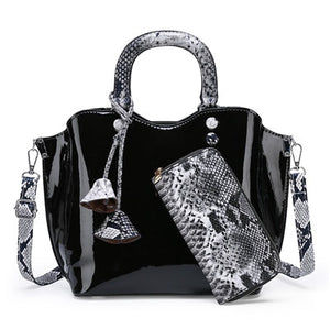3 Sets Luxury High Quality Patent Leather Women Handbags Brand Designer Tote Bags For Women Shoulder Bag Serpentine Purse Ladies