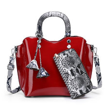 Load image into Gallery viewer, 3 Sets Luxury High Quality Patent Leather Women Handbags Brand Designer Tote Bags For Women Shoulder Bag Serpentine Purse Ladies