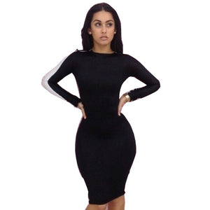 New Women Fashion Sexy Patchwork Back Hollow Out Dress Long Sleeve Black And White Round Neck Sheath Bodycon Pencil Dresses 467