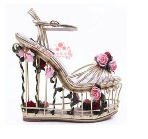 Abesire Woman Fashion 3D Flower Embellished Cut-outs Bird Cage Wedges Ankle Strap Sandals Lady Thick Platform Dress Runway Shoes