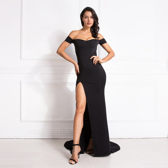 Off the Shoulder V Neck Mermaid Dress Bodycon Split Leg Red Backless Long Dress Red Black Sexy Floor Length Club Maxi Dress