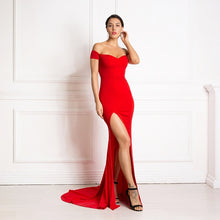 Load image into Gallery viewer, Off the Shoulder V Neck Mermaid Dress Bodycon Split Leg Red Backless Long Dress Red Black Sexy Floor Length Club Maxi Dress