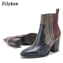 Load image into Gallery viewer, Eilyken Women Black Ankle Boots Pu Leather High Heel Shoes Female Autumn Square Heels Platform Round Toe Boots size 36-43