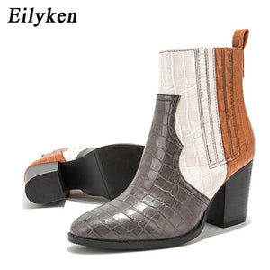 Eilyken Women Black Ankle Boots Pu Leather High Heel Shoes Female Autumn Square Heels Platform Round Toe Boots size 36-43