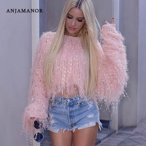 ANJAMANOR Neon Fringe Female Crop Oversized Sweater Knitted Pullover Fashion Clothes Women Winter Tops Tassel Jumper D48-AI33