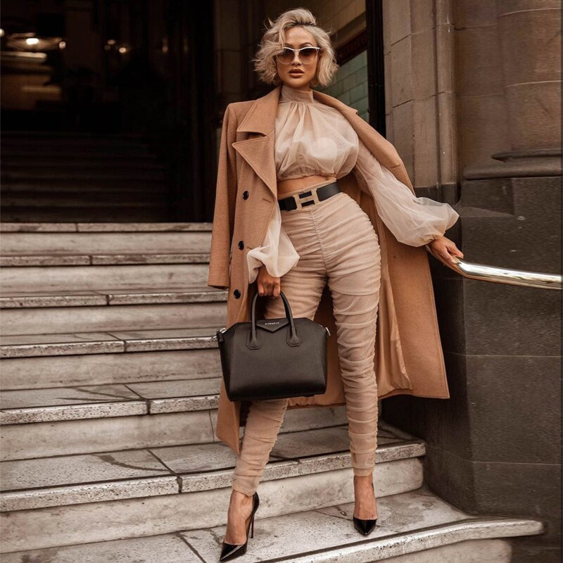 Fashion Show  Khaki Two 2 Pieces Set Women Jumpsuit High Quality Long Sleeve Bodycon Celebrity Wedding Evening Party Jumpsuits