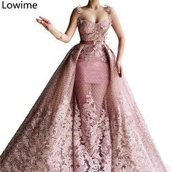 Gorgeous Two Pieces Dubai Celebrity Dresses 2019 Long Lace Fairy Women Party Gowns With Sashes Turkish Abendkleider Custom
