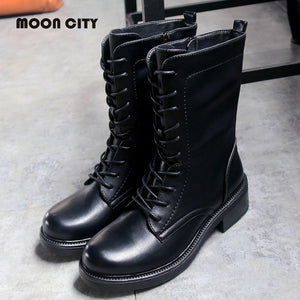 2019 women boots autumn and winter fashion Martin boots women's punk style denim locomotive black zipper military boots