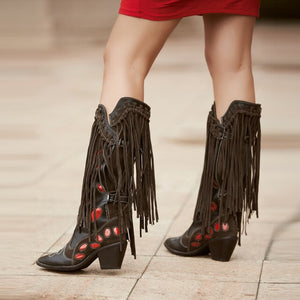 Prova Perfetto Women Cool Knight Boots Purple Gray Color Match Pointed Toe Bota Chunky Heel Long Fringe Tassel Booties
