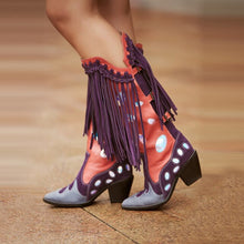 Load image into Gallery viewer, Prova Perfetto Women Cool Knight Boots Purple Gray Color Match Pointed Toe Bota Chunky Heel Long Fringe Tassel Booties
