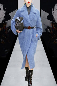 Elegant Gray /Blue Rabbit Fur Trench With Blet 2017 Autumn Winter Turn Down Collar Warm Thick Coat Long Streetwear