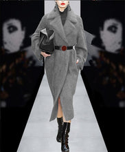 Load image into Gallery viewer, Elegant Gray /Blue Rabbit Fur Trench With Blet 2017 Autumn Winter Turn Down Collar Warm Thick Coat Long Streetwear