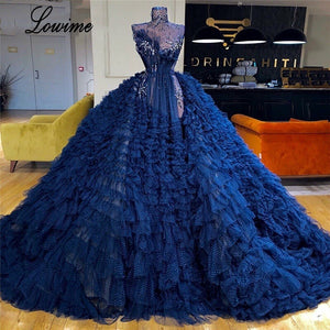 Luxury Navy Blue Celebrity Dresses 2019 Long Illusion Crystals Evening Dress Prom Party Gowns Turkish vestidos de fiesta Custom