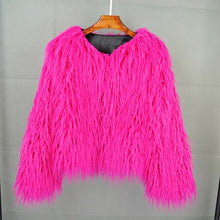 Load image into Gallery viewer, Chic Boho Furry Faux Mink Fur Jacket Bomber Women Fur Imitation Trench Coats Autumn Winter Pink Shaggy Long Hair Cardigan Tops