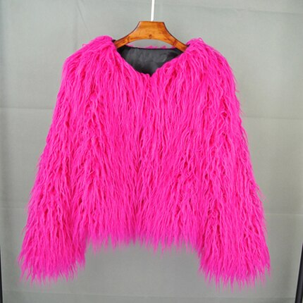 Chic Boho Furry Faux Mink Fur Jacket Bomber Women Fur Imitation Trench Coats Autumn Winter Pink Shaggy Long Hair Cardigan Tops