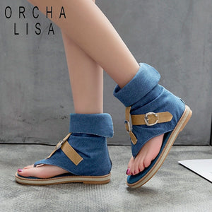 ORCHA LISA Blue Denim shoes woman buckle Gladiator Sandals Women Summer Jeans Boots western booties sandalias Plus Size 43