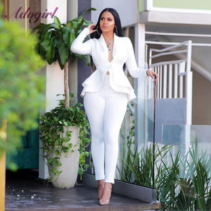 Women Blazer Two Piece Set Casual Full Sleeve V Neck Ruffles Blazers Jacket Coat Pencil Pants Winter Office Lady Business Suit