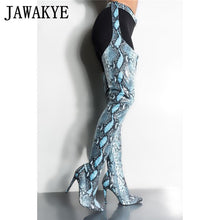 Load image into Gallery viewer, Extrem Long Boots women nightclub High Heels snake skin Stage belts cutout trousers over the knee booties thigh high boots