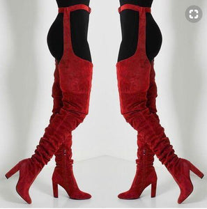 Extrem Long Boots women nightclub High Heels snake skin Stage belts cutout trousers over the knee booties thigh high boots