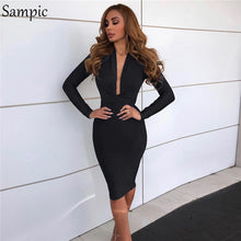 Load image into Gallery viewer, Sampic Bodycon Sexy Club Party Dress Red Pink Black Autumn Dress Women Long Sleeve Elegant Ladies Dresses