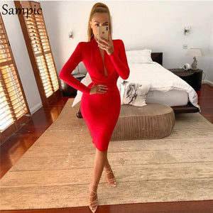 Sampic Bodycon Sexy Club Party Dress Red Pink Black Autumn Dress Women Long Sleeve Elegant Ladies Dresses
